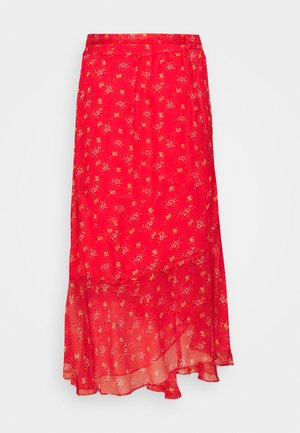 WRAP RUFFLED BOUQUET REFRESH SKIRT - Wrap skirt - red