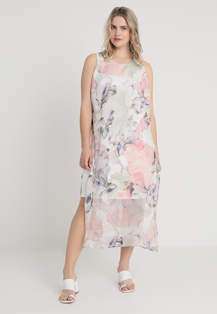 Vince Camuto Plus - DIFFUSED BLOOMS UNDERLAY DRESS - Freizeitkleid - new ivory