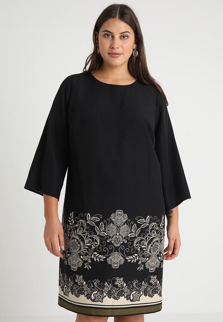 Vince Camuto Plus - ELBOW ORNATE PAISLEY SHIFT DRESS - Day dress - rich black