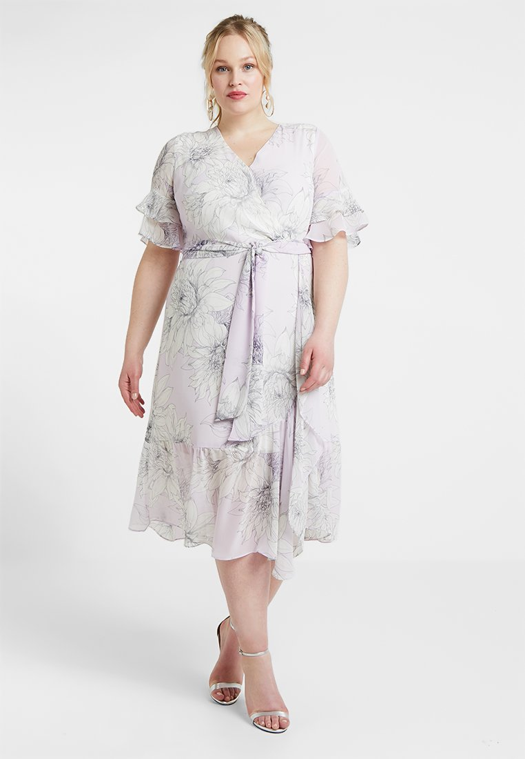 Vince Camuto Plus - TIERED RUFFLE BLOSSOMS WRAP DRESS - Maxikleid - fresh lilac