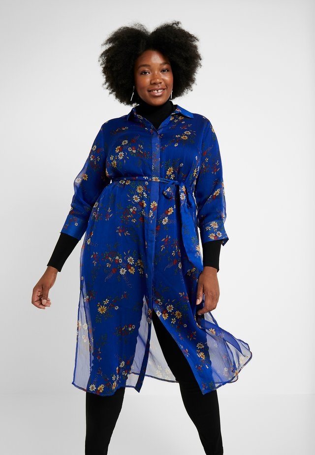 COUNTRY BOUQUET BELTED - Shirt dress - electric blue