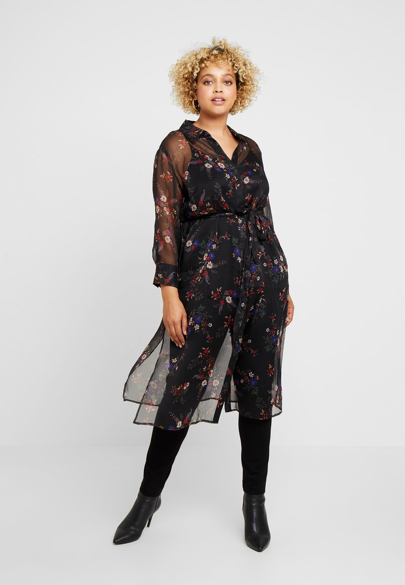 Vince Camuto Plus - COUNTRY BOUQUET BELTED - Shirt dress - rich black