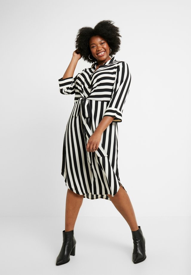 BOLD STRIPE TIE FRONT DRESS - Skjortekjole - rich black