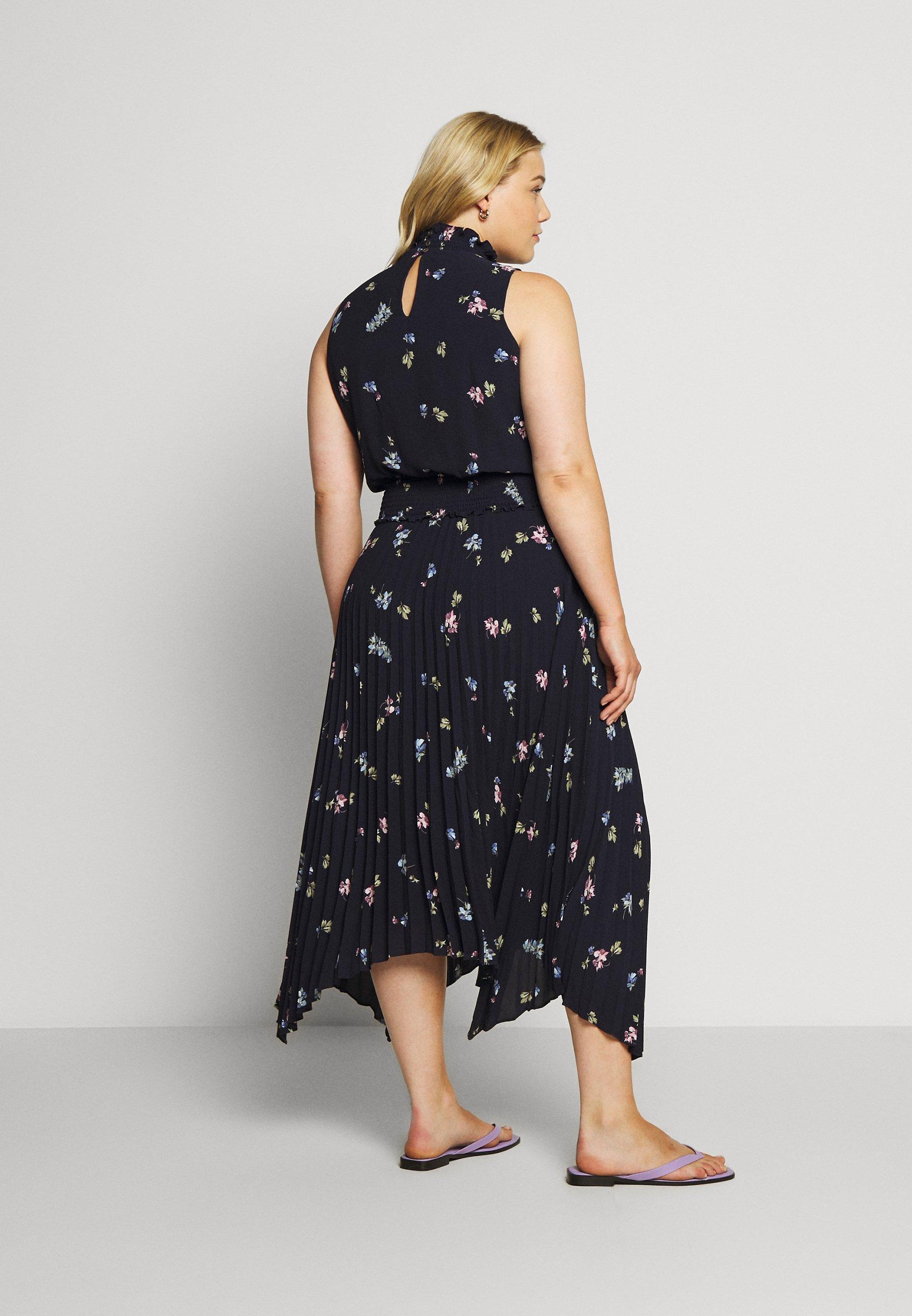 Duża obniżka Duża obniżka Vince Camuto Plus ROMANTIC BUDS PLEATED DRESS - Długa sukienka - dark blue   Odzież damska 2020 QIHpn