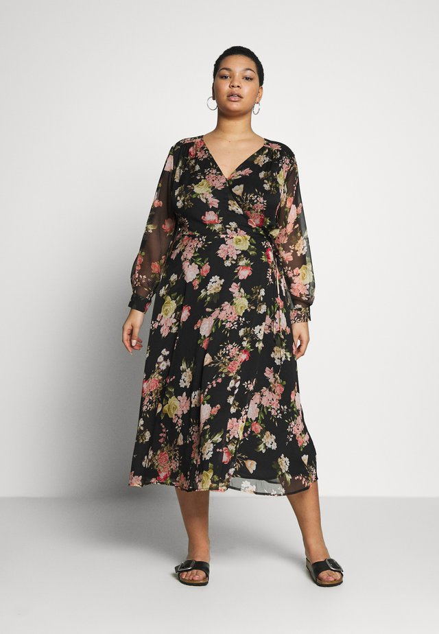 BEAUTIFUL BLOOMS YORYU WRAP DRESS - Korte jurk - black