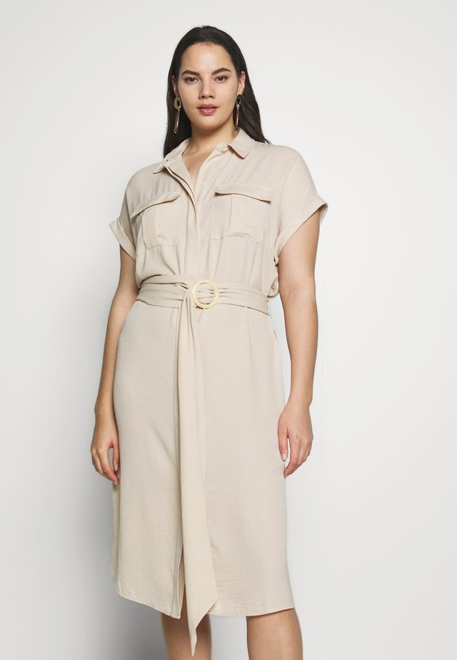 RUMPLE BELTED DRESS - Shirt dress - beige