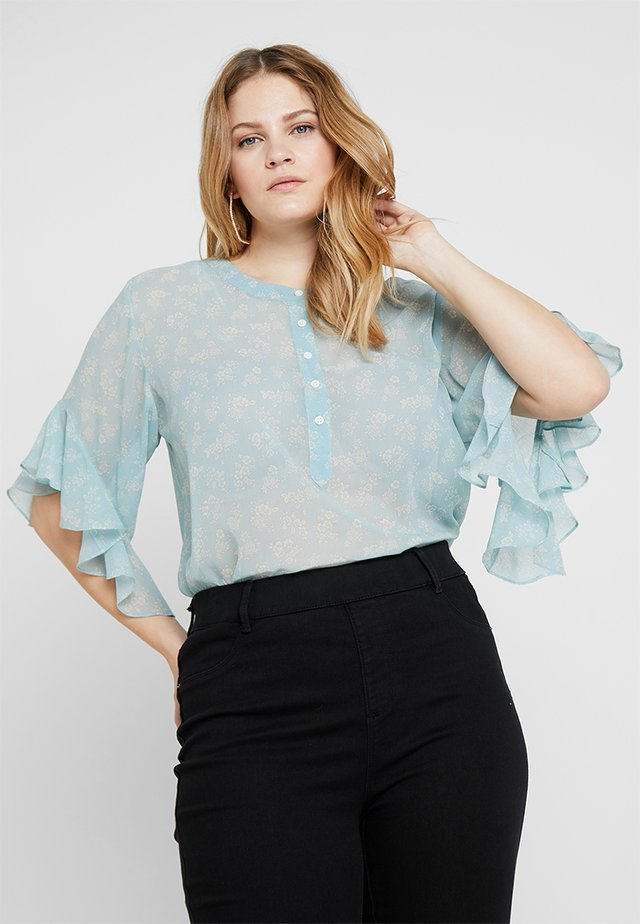 FULLTER DAINTY CALICO HENLEY BLOUSE - Blus - blue cypress