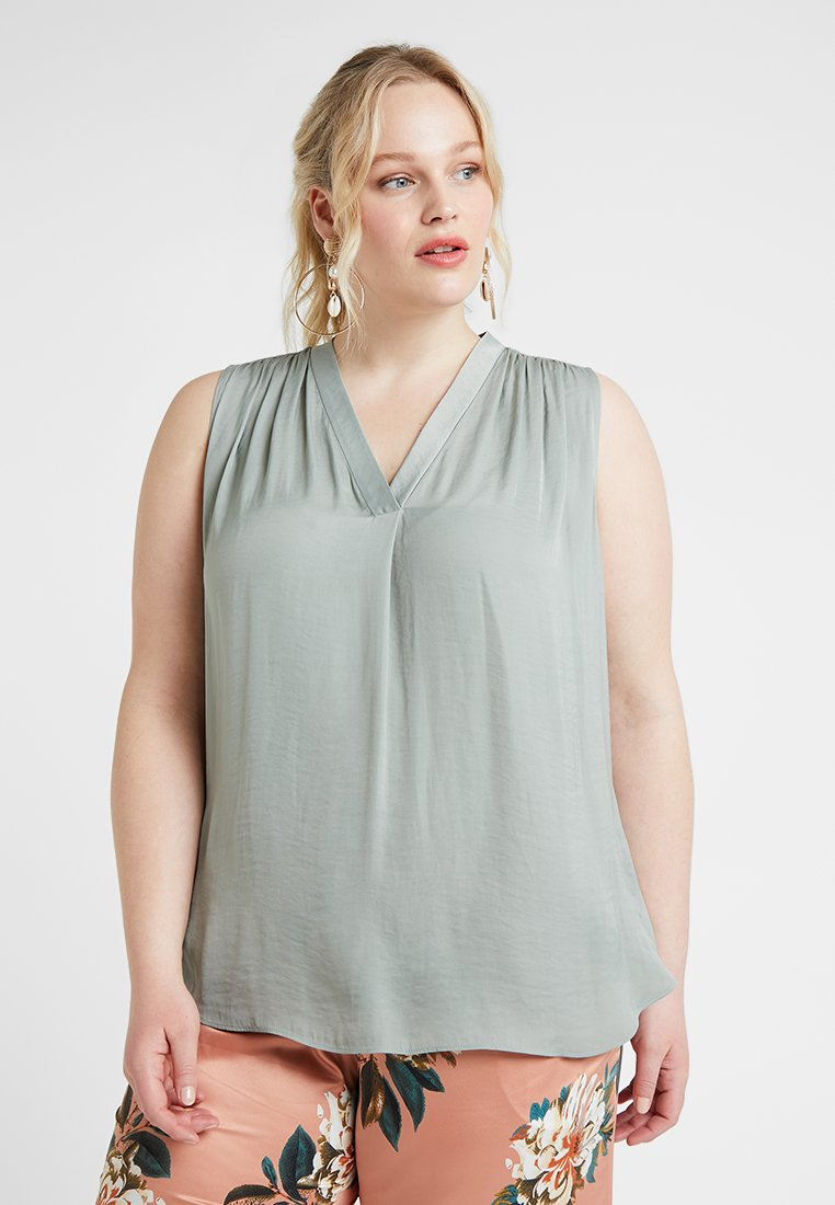 Vince Camuto Plus - V NECK RUMPLE BLOUSE - Blouse - smoked sage