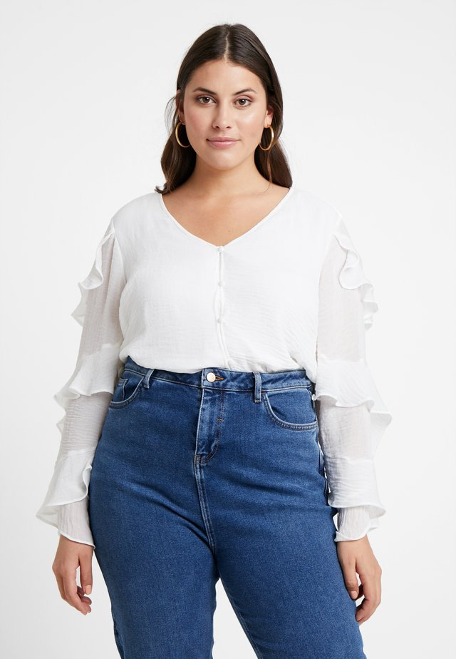 TIERED RUFFLE FRONT BLOUSE - Pusero - new ivory