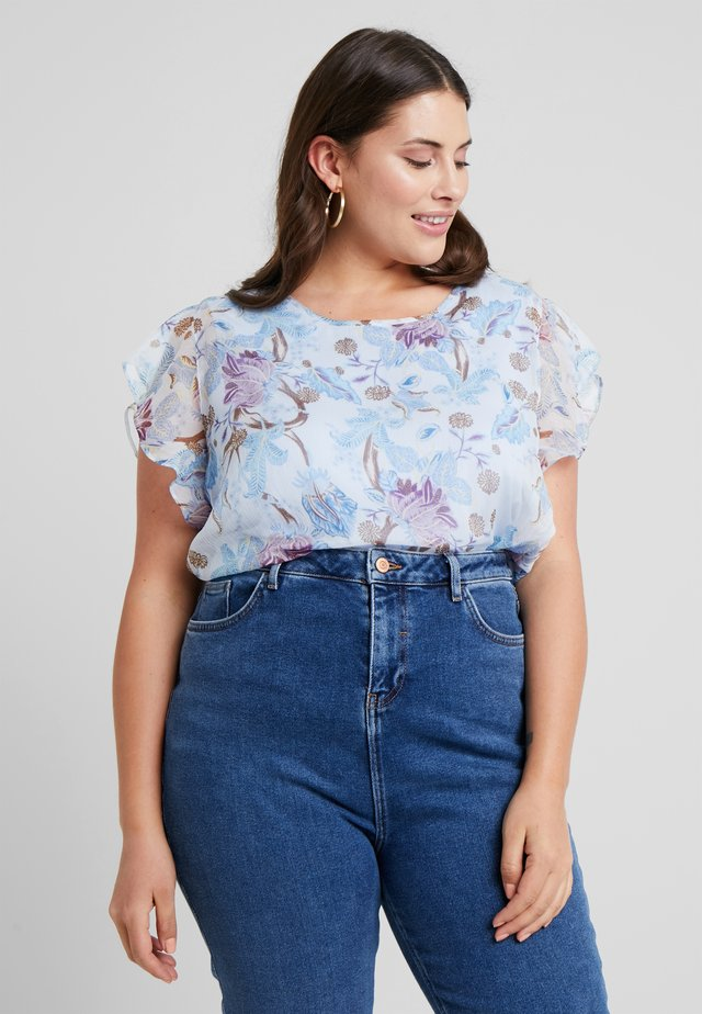 FLUTTER POETIC BLOOMS OVERLAY BLOUSE - Blus - soft bluebell