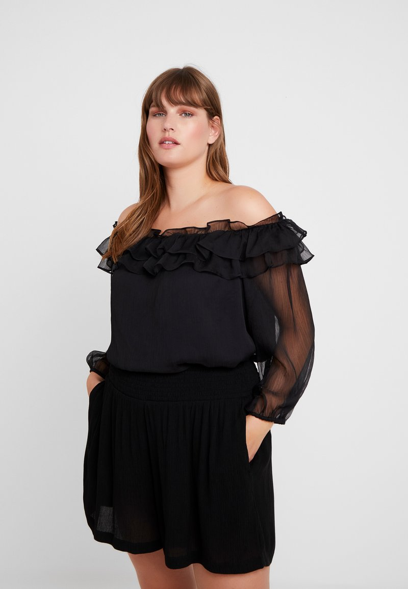 Vince Camuto Plus - RUFFLED OFF SHOULDER YORYU BLOUSE - Blusa - rich black