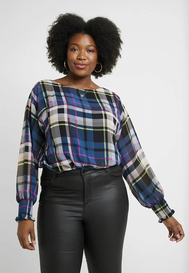 BATWING PLAID ESCAPE OVERLAY - Bluzka - deacon blue