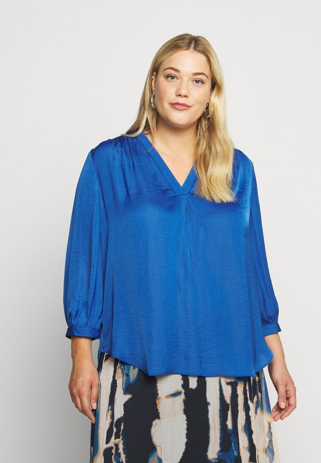 SPLIT NECK RUMPLE BLOUSE - Pusero - light blue