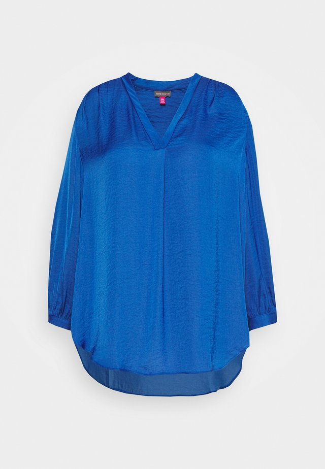 V NECK RUMPLE BLOUSE - Bluzka - light blue