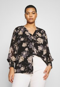 Vince Camuto Plus - SMOCKED CUFF ENCHANTED FLO - Blouse - rich black - 0