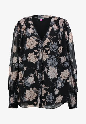SMOCKED CUFF ENCHANTED FLO - Blouse - rich black