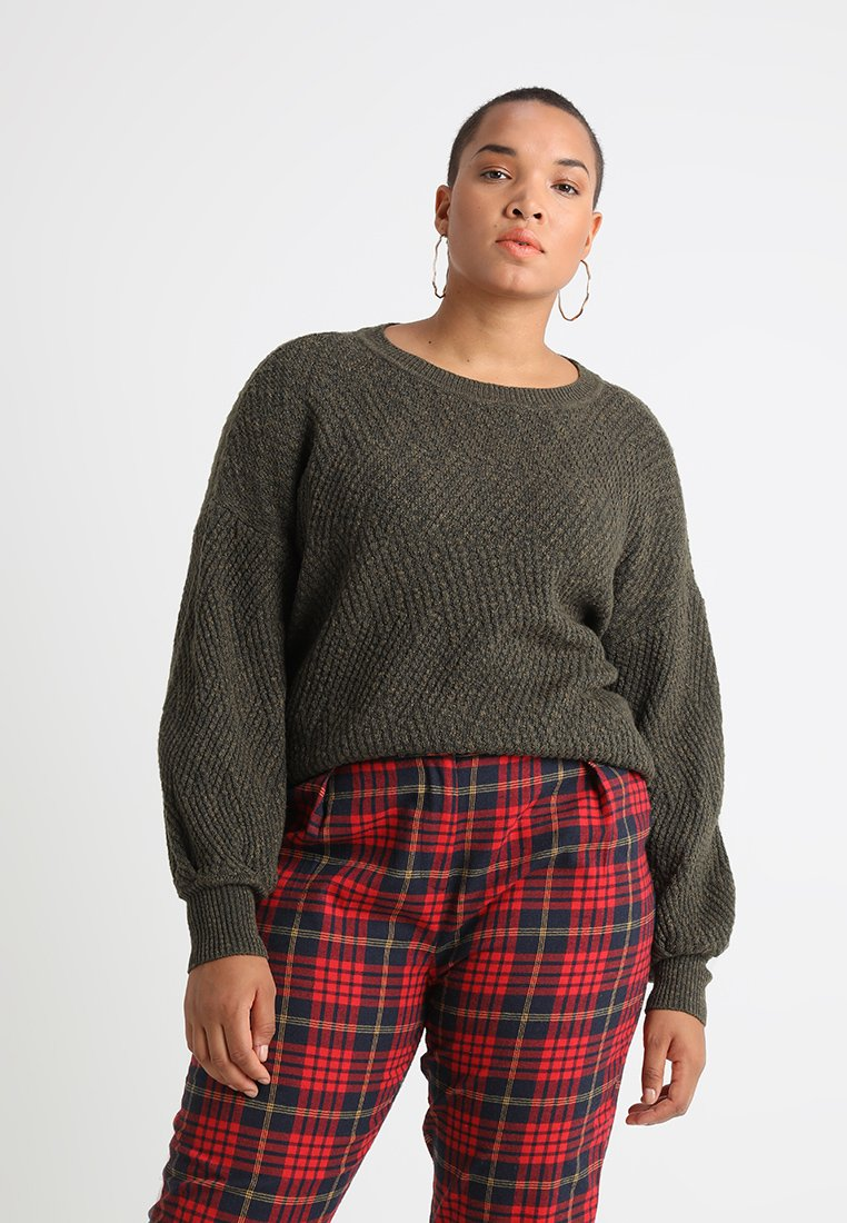 Vince Camuto Plus - NOVELTY TEXTURE STITCH  - Strickpullover - rich olive