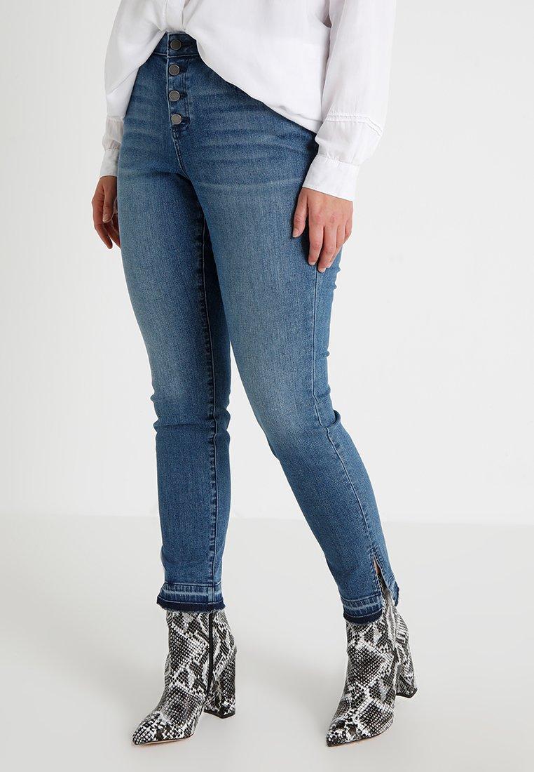 Vince Camuto Plus - BUTTON FLY HIGH RISE SLIT LEG  - Jeans Skinny Fit - spectrum blue