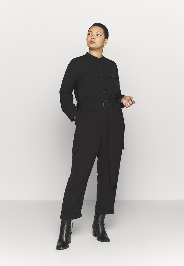 ROLLTAB RUMPLE  BELTED CARGO  - Jumpsuit - black