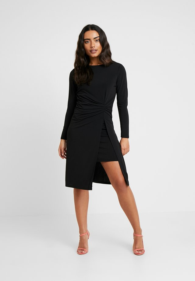 VIBORNEO DRAPED MIDI DRESS - Jersey dress - black