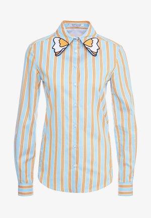 CAMICIA - Košile - fondo azzurro/ arancio