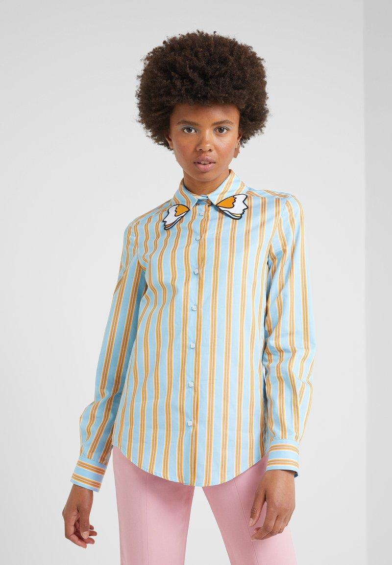 Vivetta - CAMICIA - Button-down blouse - fondo azzurro/ arancio