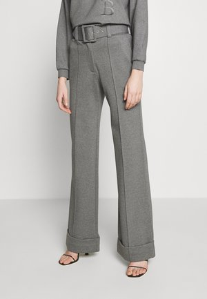 HIGH WAIST WIDE LEG TROUSERS - Bukse - iron grey