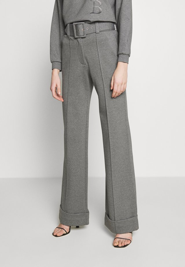 HIGH WAIST WIDE LEG TROUSERS - Tygbyxor - iron grey