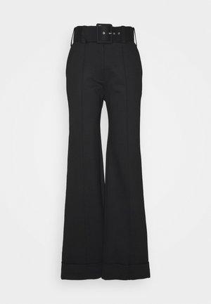 BELTED JERSEY TROUSER - Pantaloni - black