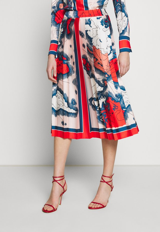 MAP PRINT PLEATED SKIRT - Gonna a campana - red/multi