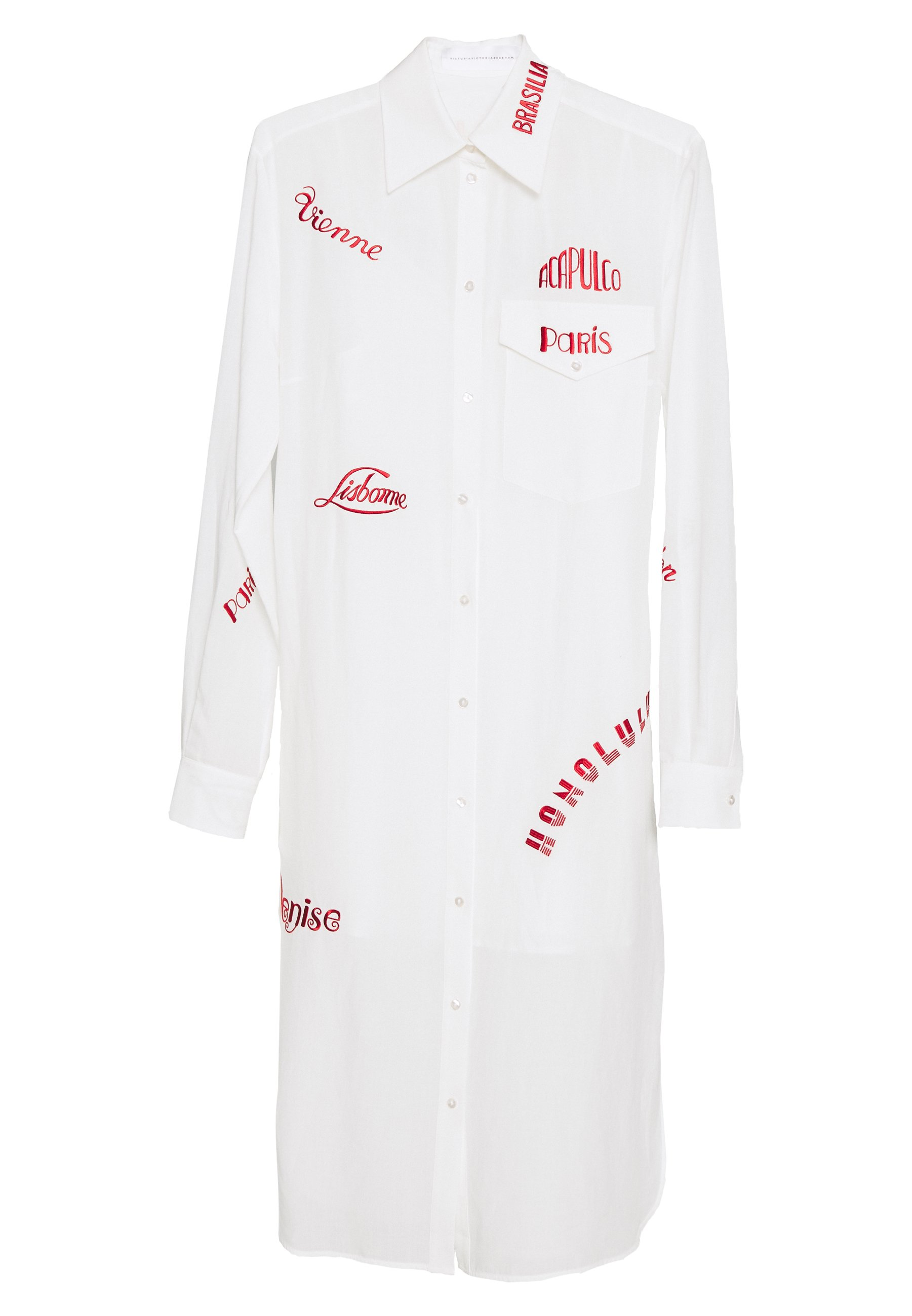 Victoria Beckham City Embroidered Shirt Dress - Skjortklänning White