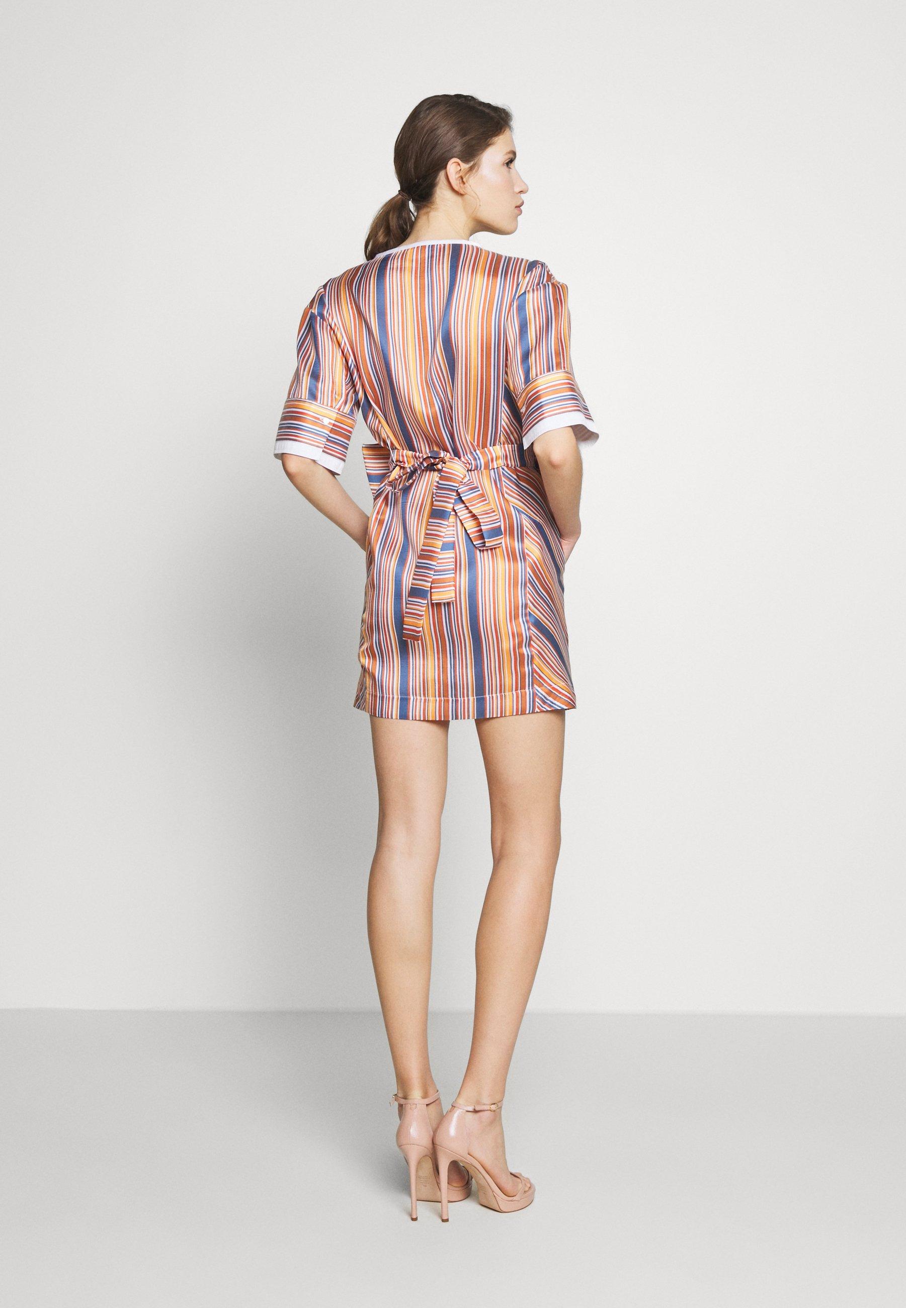 Victoria Beckham Boxy Shift Dress - Vestito Estivo Steel Blue/ochre/orange/white RCC0N