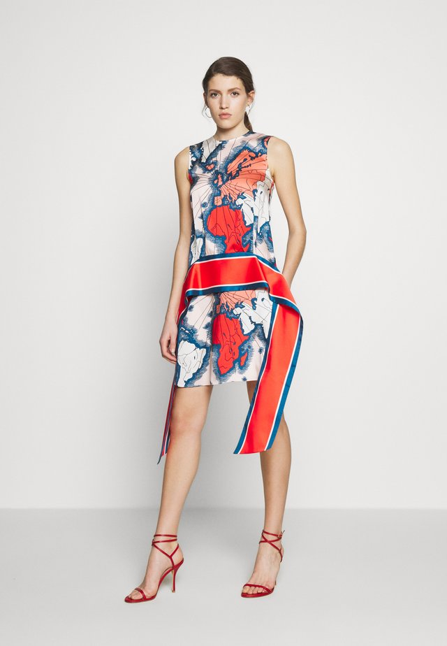 MAP PRINT SCARF DRESS - Korte jurk - red/multi