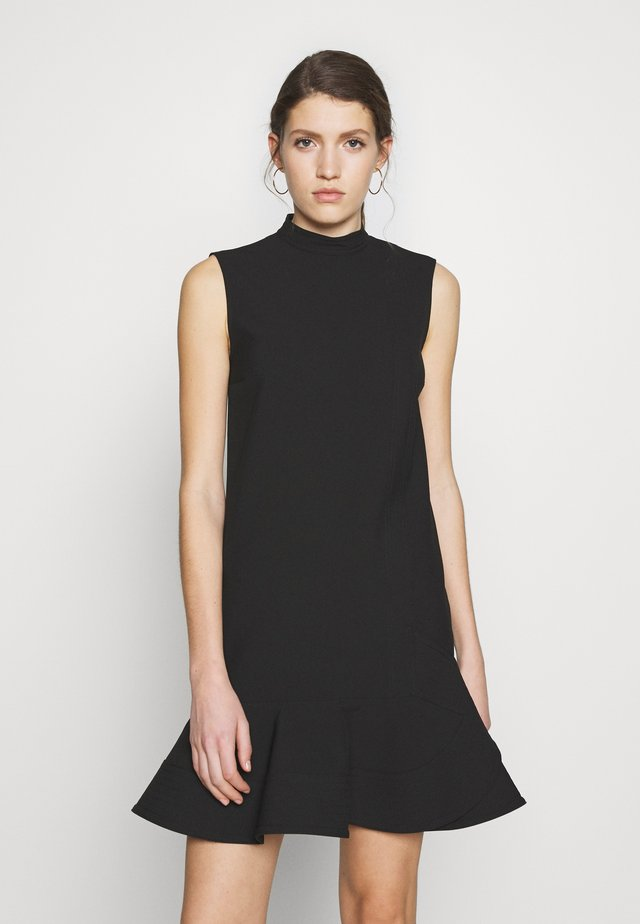 SLEEVELESS PEPLUM HEM DRESS - Korte jurk - black