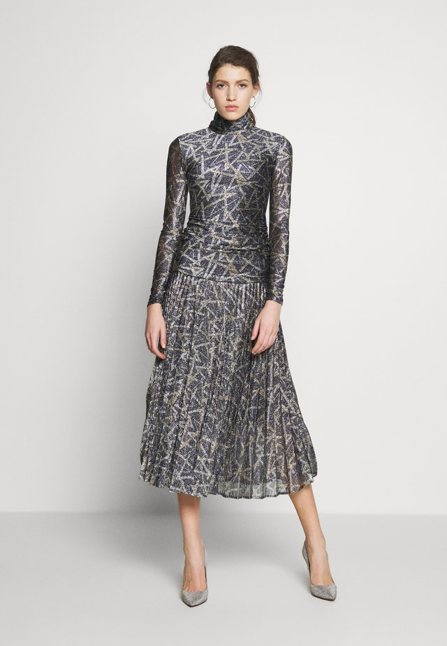 PLEATED DRESS - Sukienka letnia - petrol blue/gold