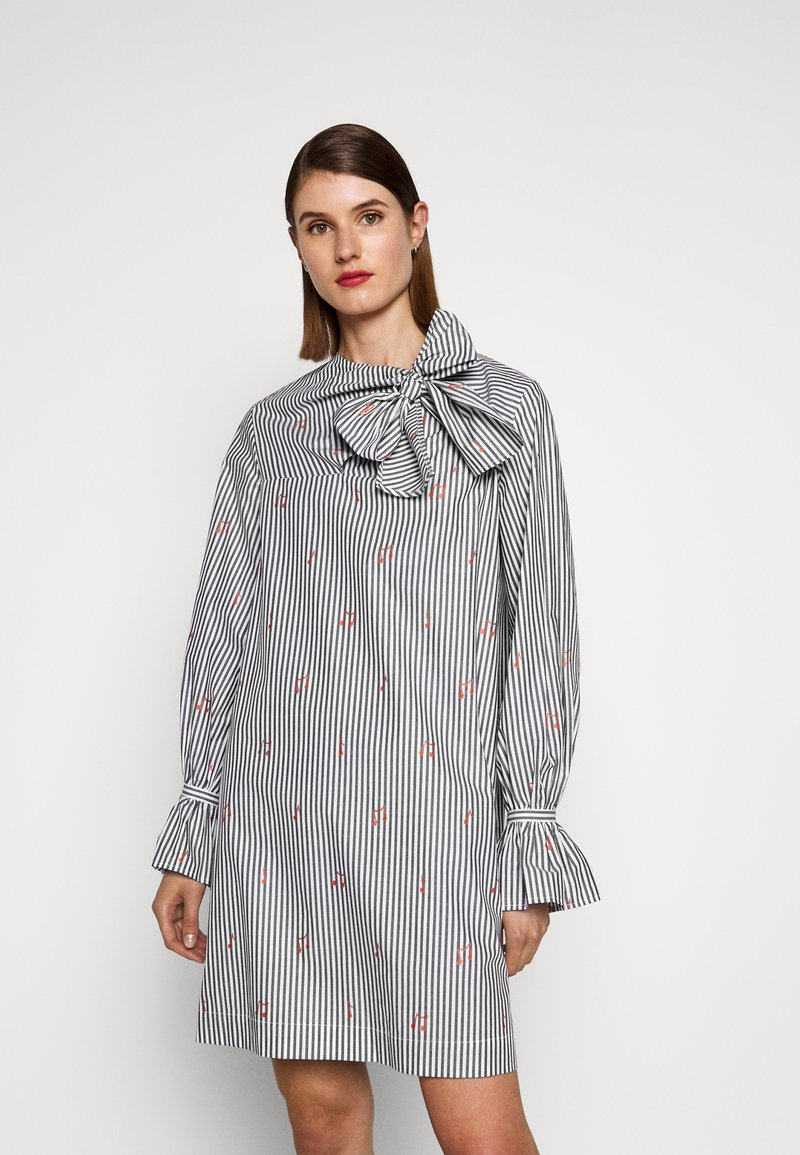 Victoria Victoria Beckham - TIE NECK DRESS - Denní šaty - grey