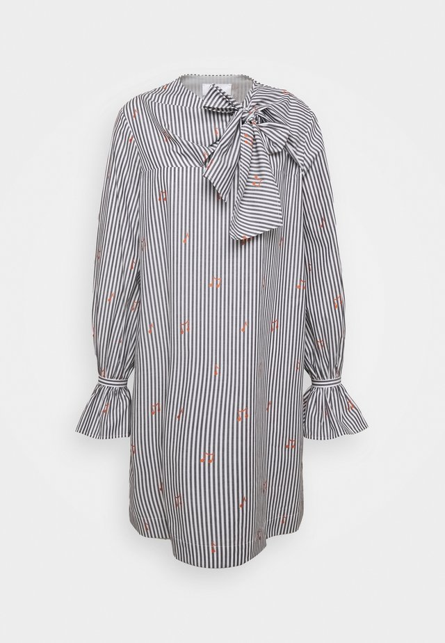 TIE NECK DRESS - Day dress - grey