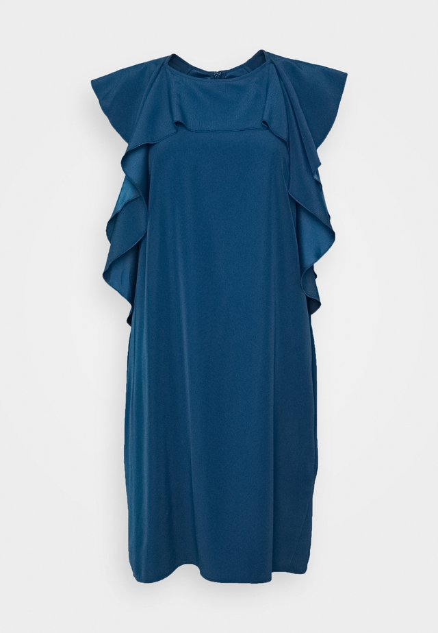 RUFFLE FRONT DRESS - Day dress - blue slate