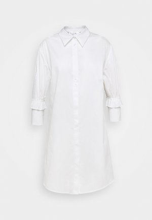RUFFLE CUFF SHIRT DRESS - Abito a camicia - white