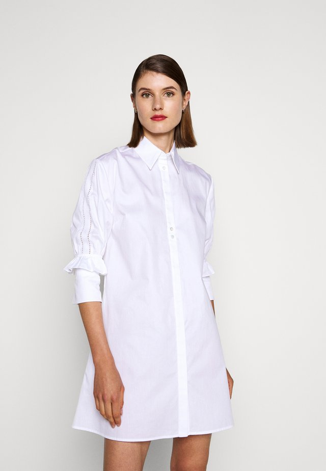 RUFFLE CUFF DRESS - Skjortekjole - white