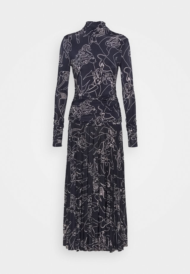 PRINTED PLEATED DRESS - Jerseyjurk - midnight blue