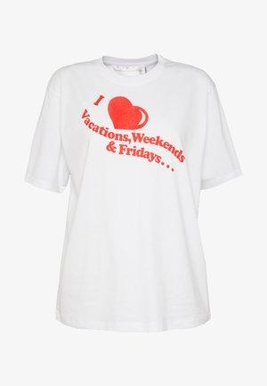 I HEART WEEKENDS - Camiseta estampada - white/flame red