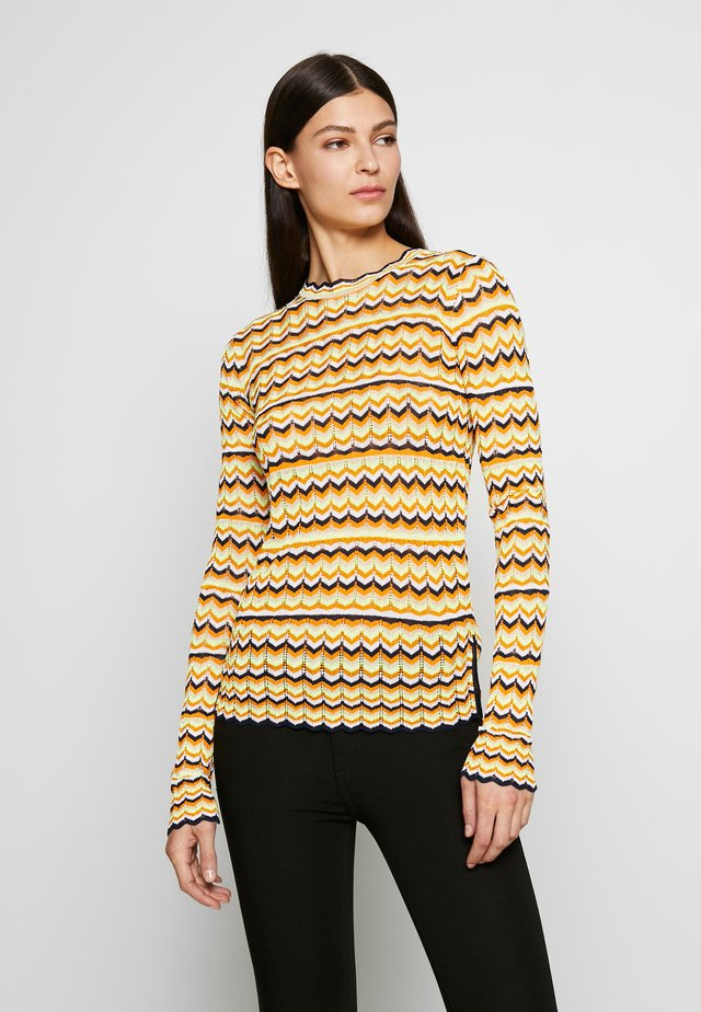 ZIG ZAG TOP - Long sleeved top - fluro yellow