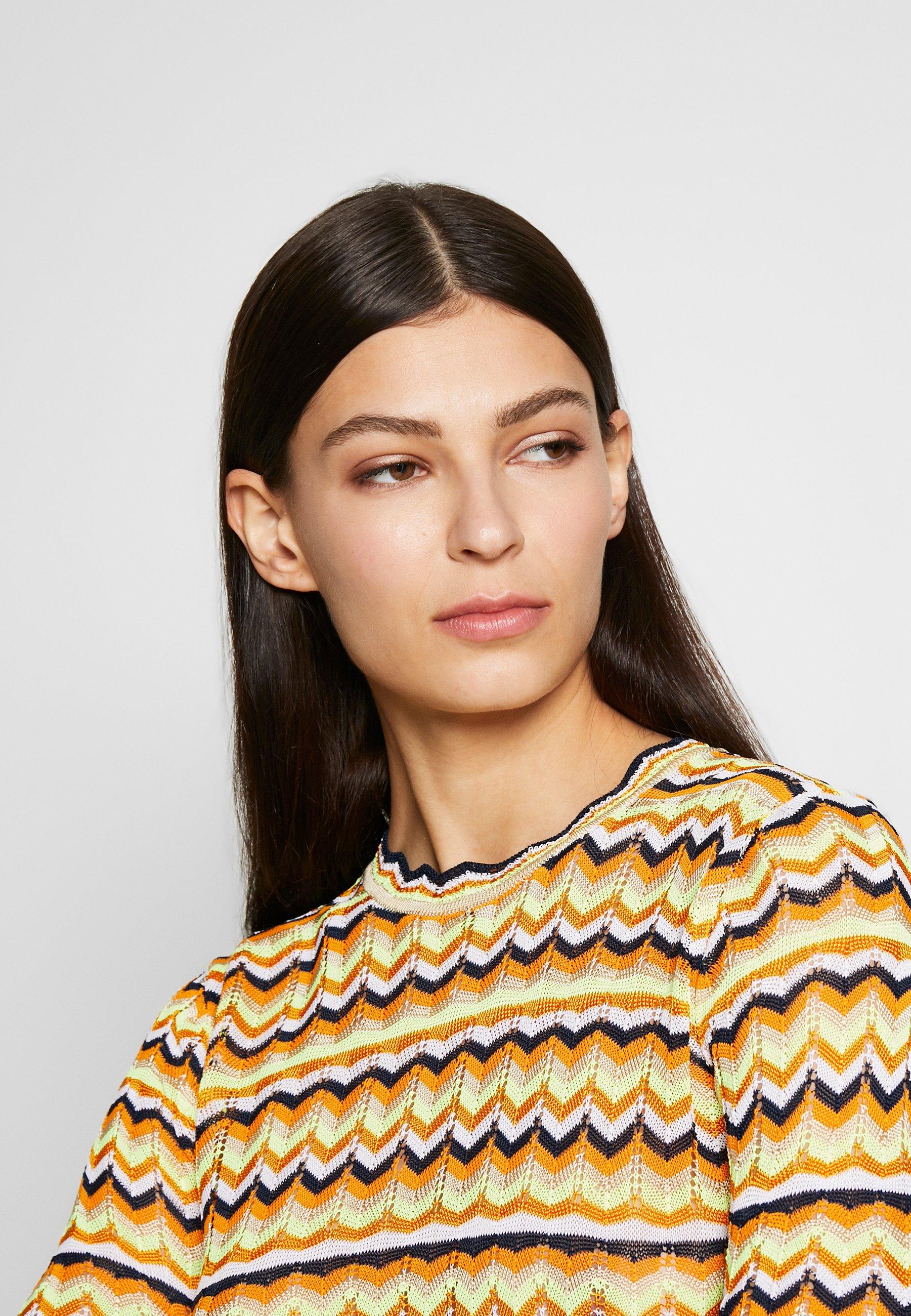 Victoria Beckham Zig Zag Top - Pitkähihainen Paita Fluro Yellow