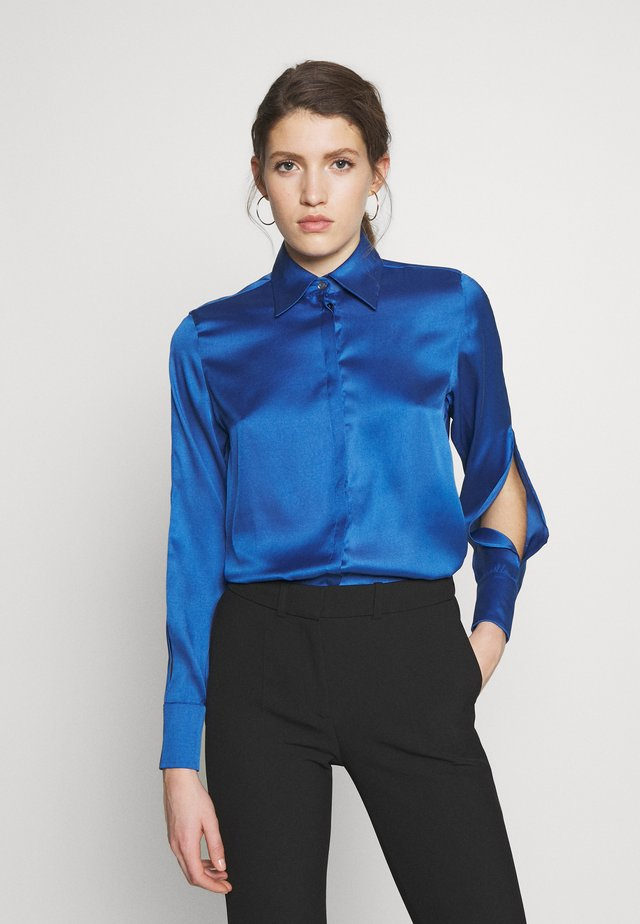 SPLIT SLEEVE - Button-down blouse - mid blue