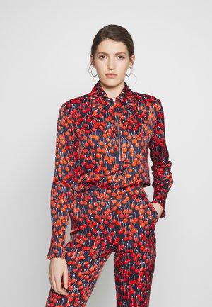 CHERRY PRINT ZIP FRONT - Bluse - midnight