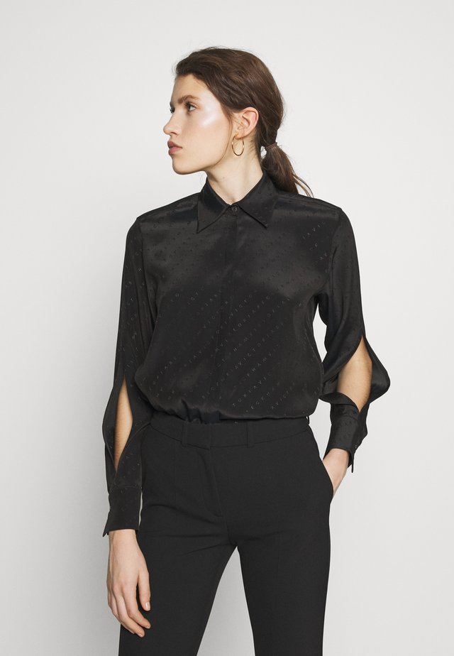 SPLIT SLEEVE SHIRT - Button-down blouse - black
