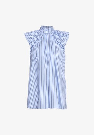 RUCHED SHOULDER SLEEVLESS - Bluser - blue/white