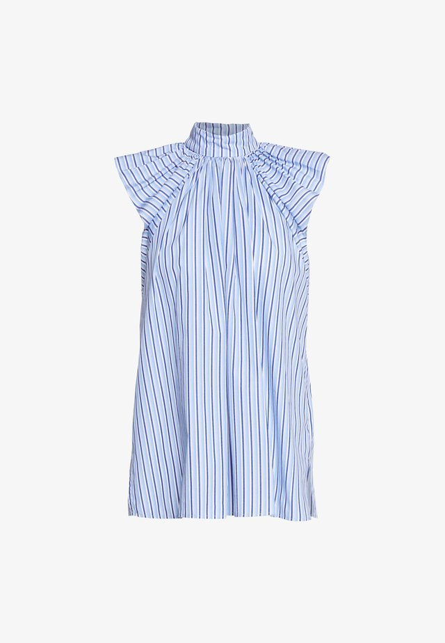 RUCHED SHOULDER SLEEVLESS - Blus - blue/white