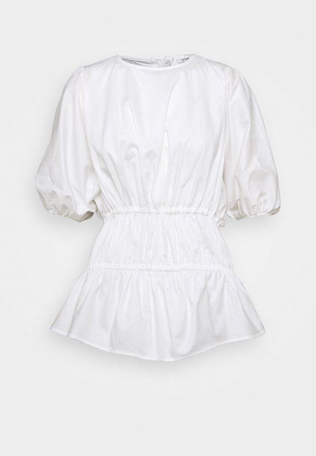 GATHERED CACOON - Blouse - white